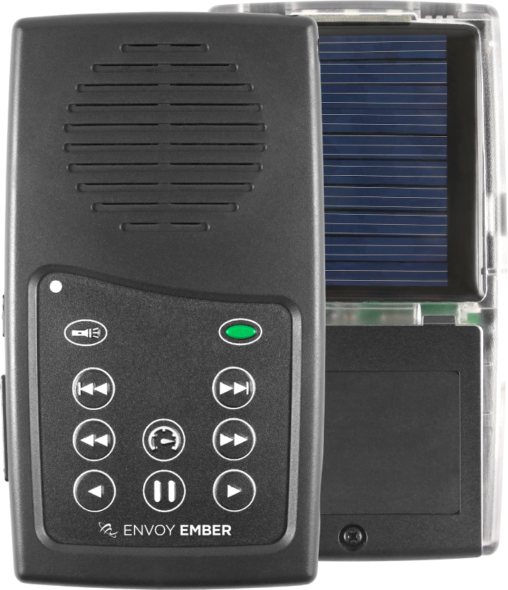 MegaVoice Audio Bible Solar Powered Envoy Ember Front Back